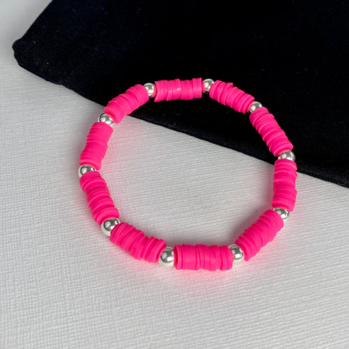 Vibrant Disc Bead Bracelets with Silver Accent