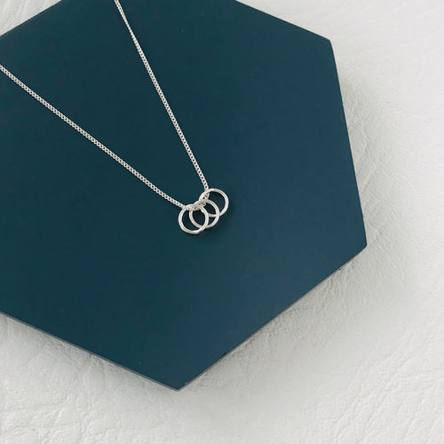 Three Silver Rings Necklace - KookyTwo