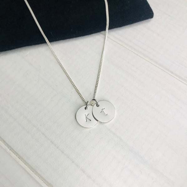 Silver Two Initial Personalised Disc Necklace