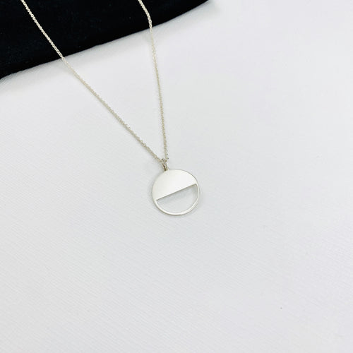 Silver Circle Disc Necklace - KookyTwo