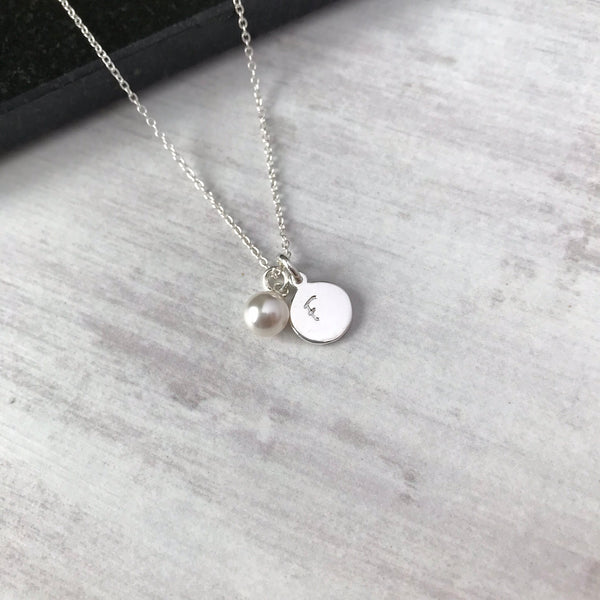 Silver Initial Disc Necklace with Swarovski Pearl