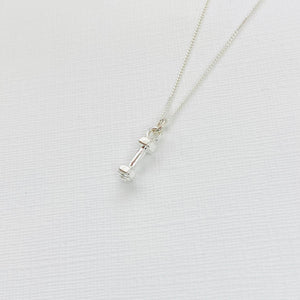 Silver Dumbbell Necklace - KookyTwo