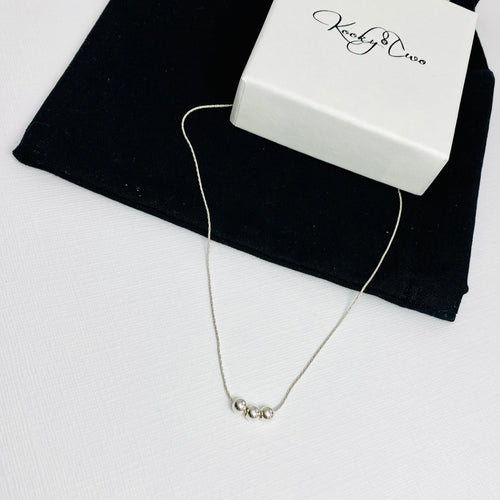 30th Birthday Necklace | Silver Three Bead Necklace - KookyTwo