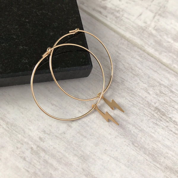 Gold Lightning Bolt Hoop Earrings