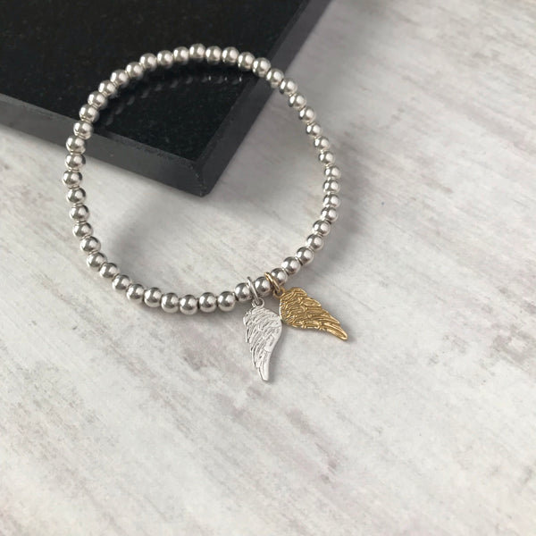 Silver and Gold Angel Wing Bracelet - KookyTwo