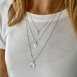 Silver Initial Crescent Moon Necklace Set