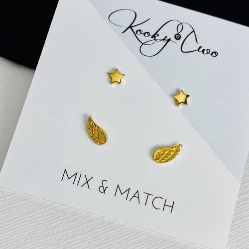 Gold Star & Angel Wing Earring Set