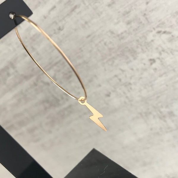 Gold Lightning Bolt Hoop Earrings - KookyTwo