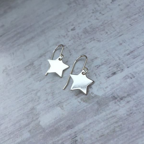 Silver Polished Star Hook Earrings