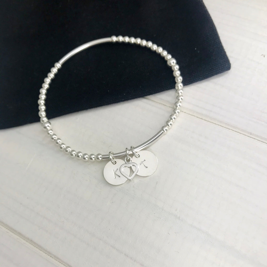 Personalised Silver Initial Disc and Heart Bracelet - KookyTwo