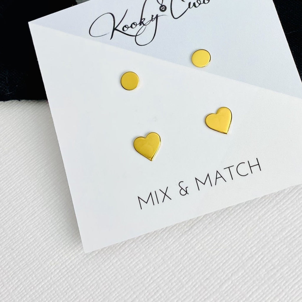 Gold Disc & Heart Earring Set