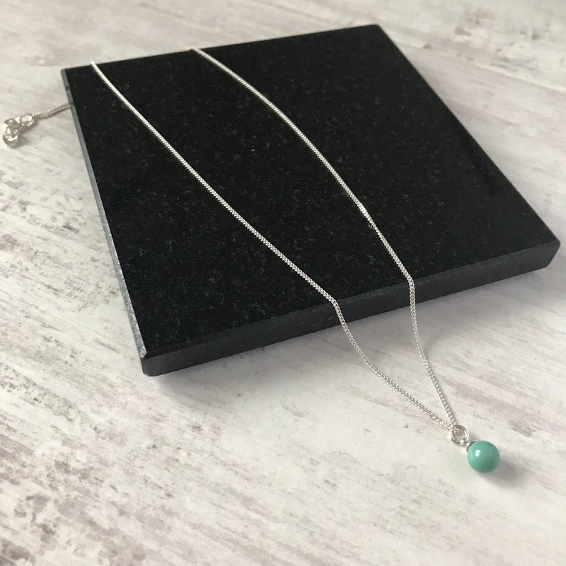 Silver and Jade Swarovski Pearl Drop Necklace - KookyTwo