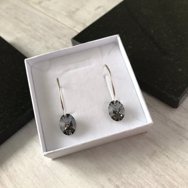 Silver Hoop Earrings with Black Swarovski Crystal