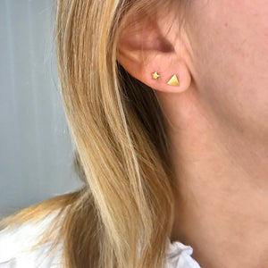 Single Gold Stud Earrings - KookyTwo