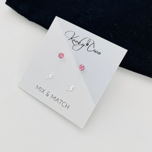 Rose Crystal & Lightning Bolt Earring Set