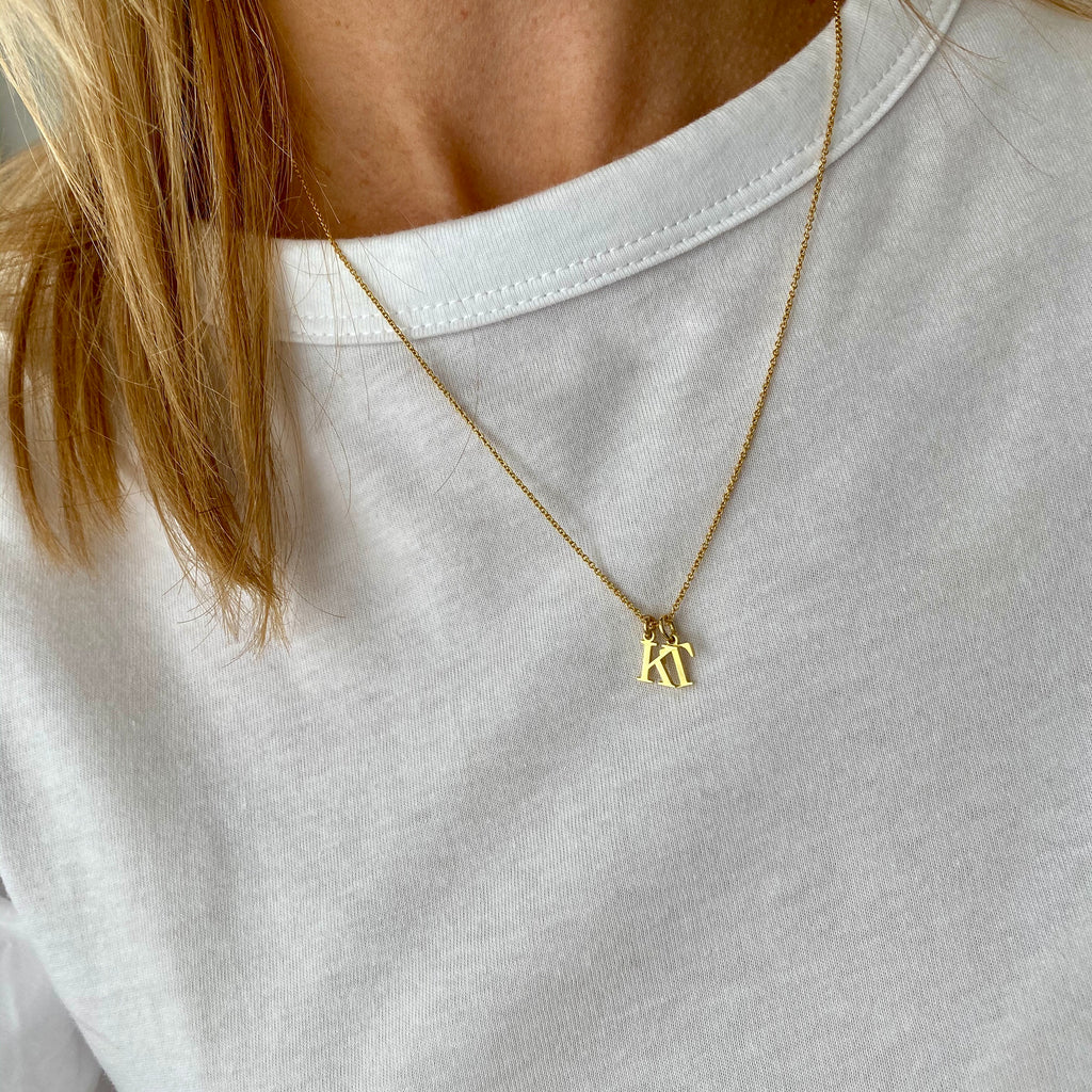 Gold Two Initial Necklace