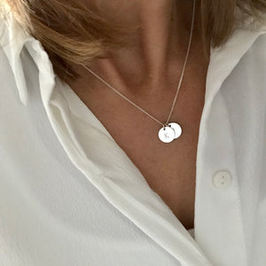 Silver Two Initial Personalised Disc Necklace - KookyTwo