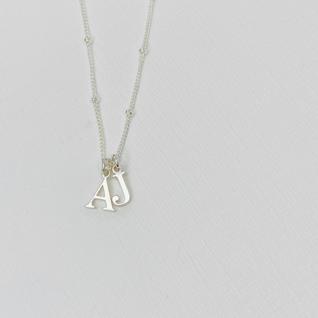 Silver Double Initial Necklace - KookyTwo