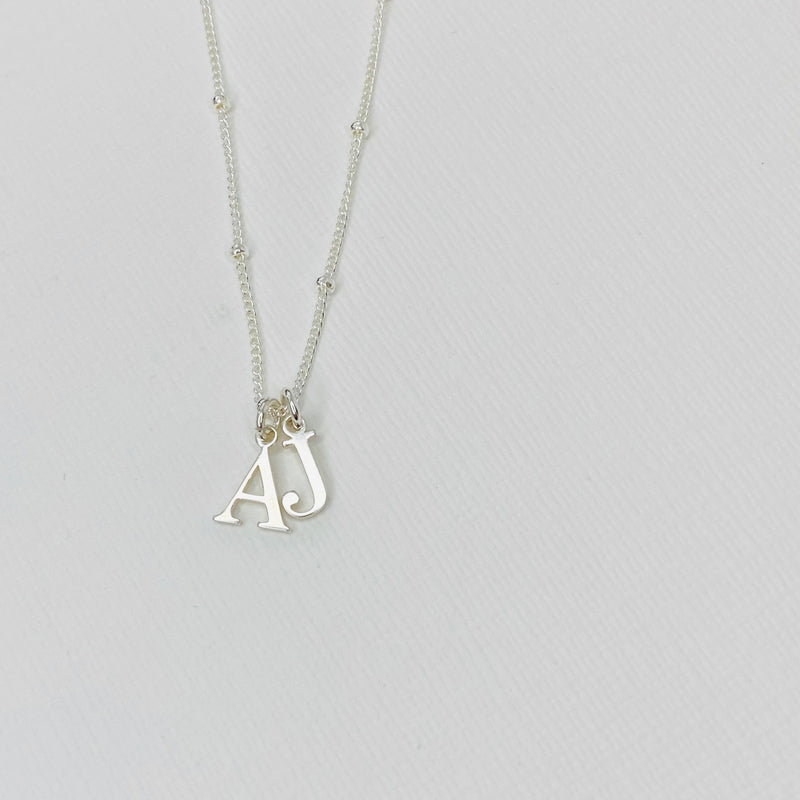 Silver Two Initial Necklace - KookyTwo