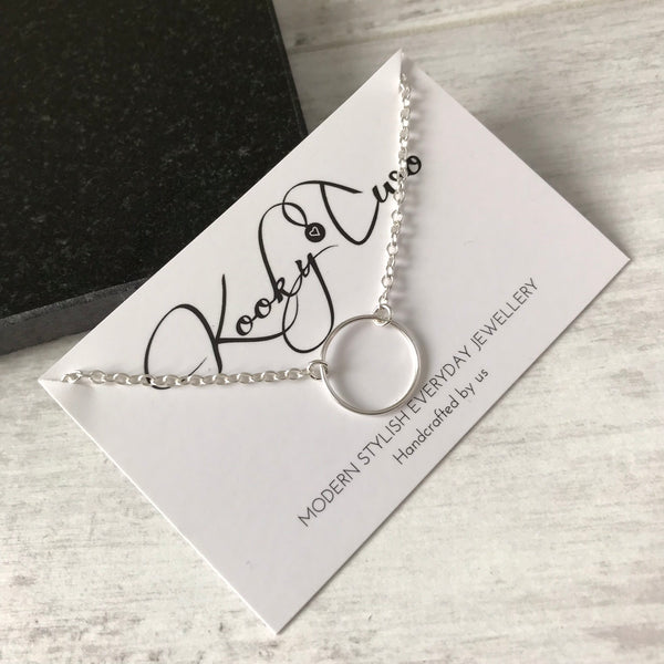 Silver Karma Circle Necklace - KookyTwo