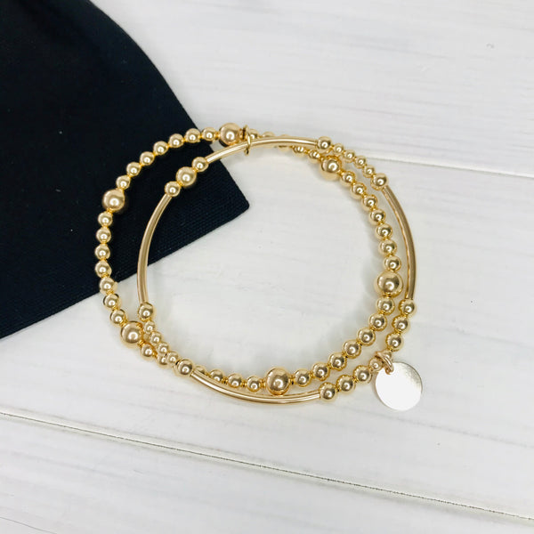 """The Coral"" Gold Disc Bracelet Stack"