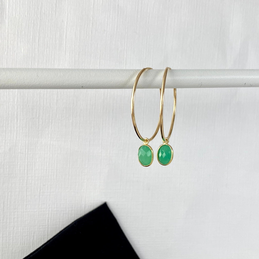 Gold Chrysoprase Hoop Earrings - KookyTwo