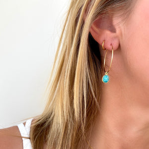 Gold Amazonite Hoop Earrings - KookyTwo