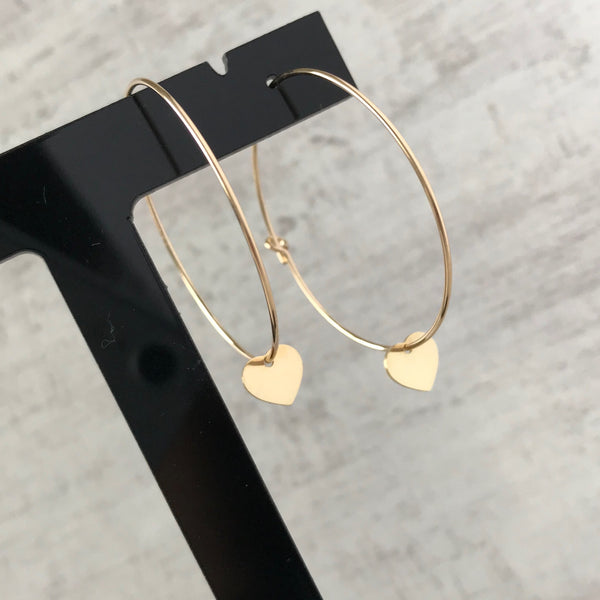 Gold Heart Hoop Earrings - KookyTwo