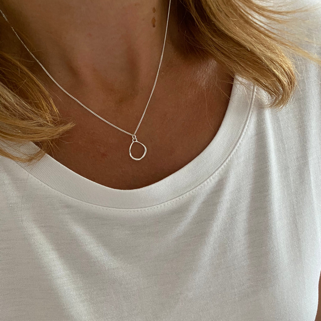 Silver Organic Circle Necklace - KookyTwo
