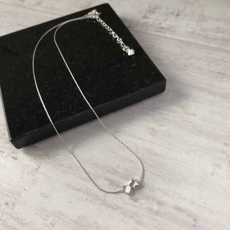 Silver Heart and Star Necklace - KookyTwo