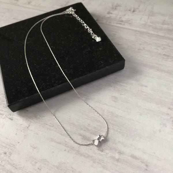 Silver Heart and Star Necklace
