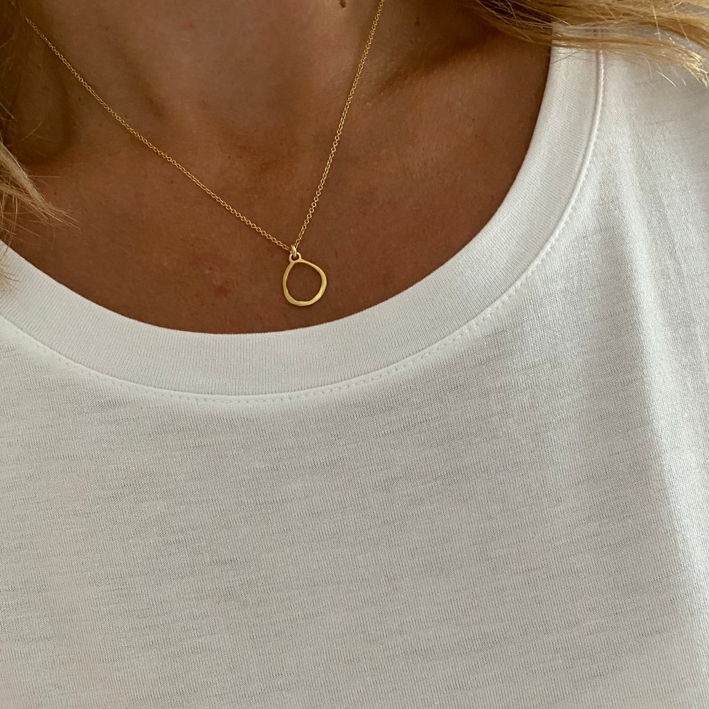 Gold Organic Circle Necklace