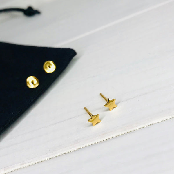 Gold Star Stud Earrings - KookyTwo