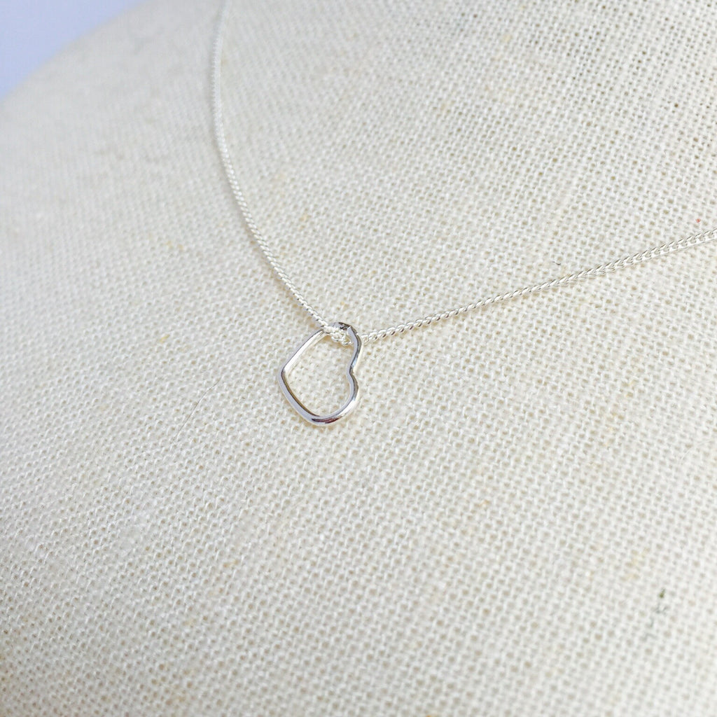 Silver Hanging Heart Necklace - KookyTwo