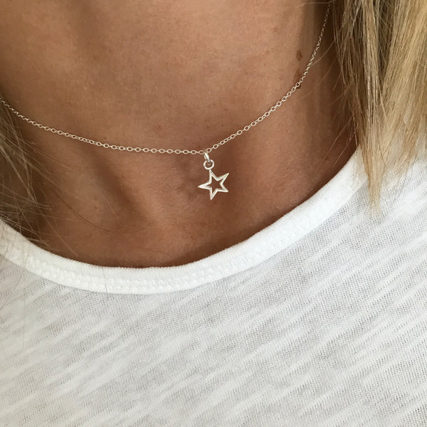Silver Mini Open Star Necklace - KookyTwo