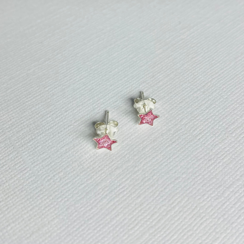 Purple Glitter Star & Lightning Bolt Earring Set