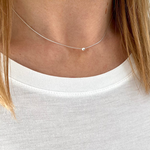 Dainty Silver Bead Necklace - KookyTwo