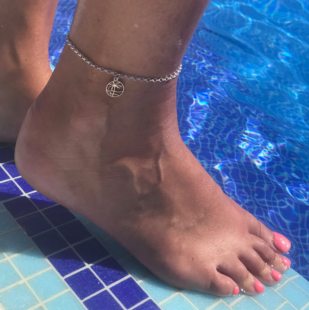 Silver Palm Tree Anklet - KookyTwo