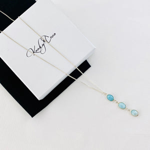 Silver Triple Larimar Necklace - KookyTwo