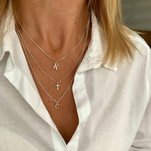 Silver Initial Necklace Luxe Collection