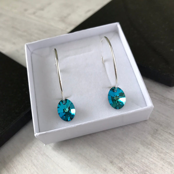 Silver Hoop Earrings with Vibrant Blue Swarovski Crystal - KookyTwo