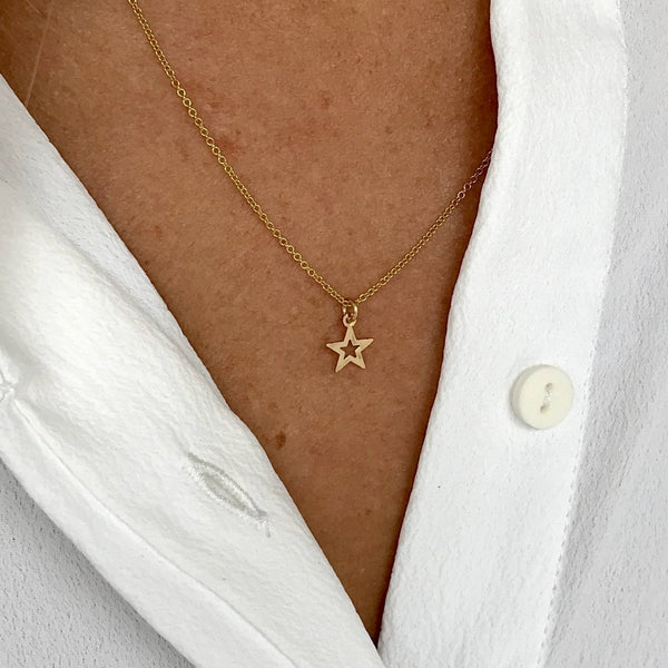 Gold Mini Open Star Necklace - KookyTwo