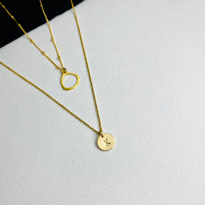 Gold Initial Circle Necklace Set