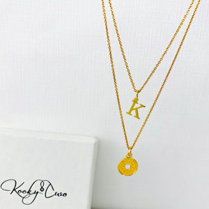 Gold Initial Coin Necklace Set - KookyTwo