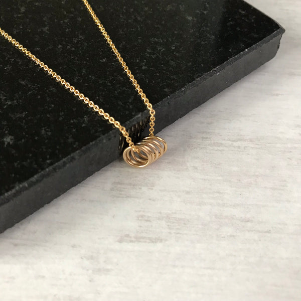Gold Five Rings Necklace