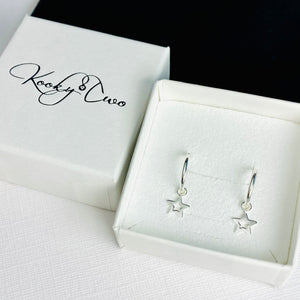 Silver Mini Star Hoop Earrings