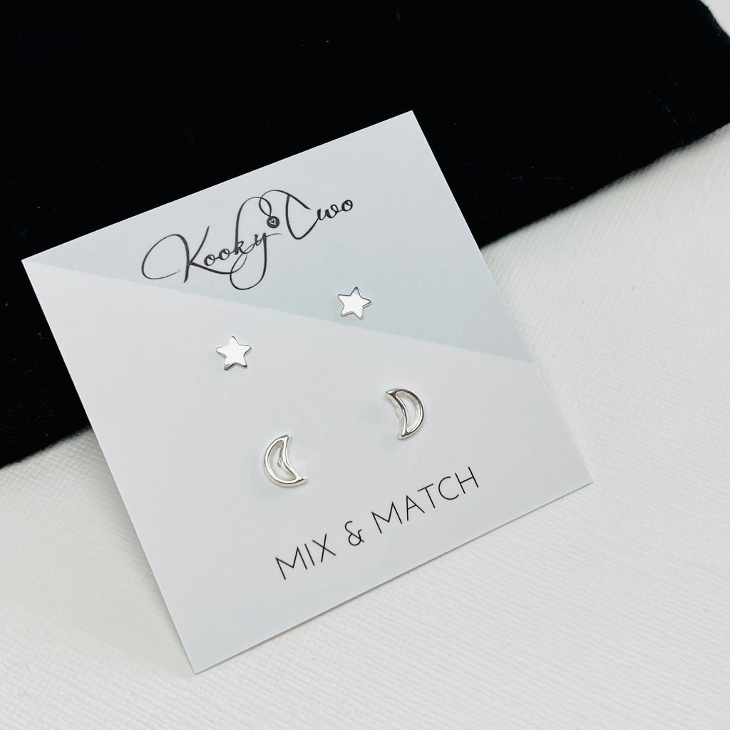 Silver Moon & Star Earring Set