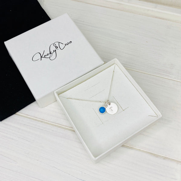 Personalised Initial Birthstone Necklace - KookyTwo
