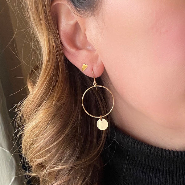 Gold Circle Disc Earrings - KookyTwo