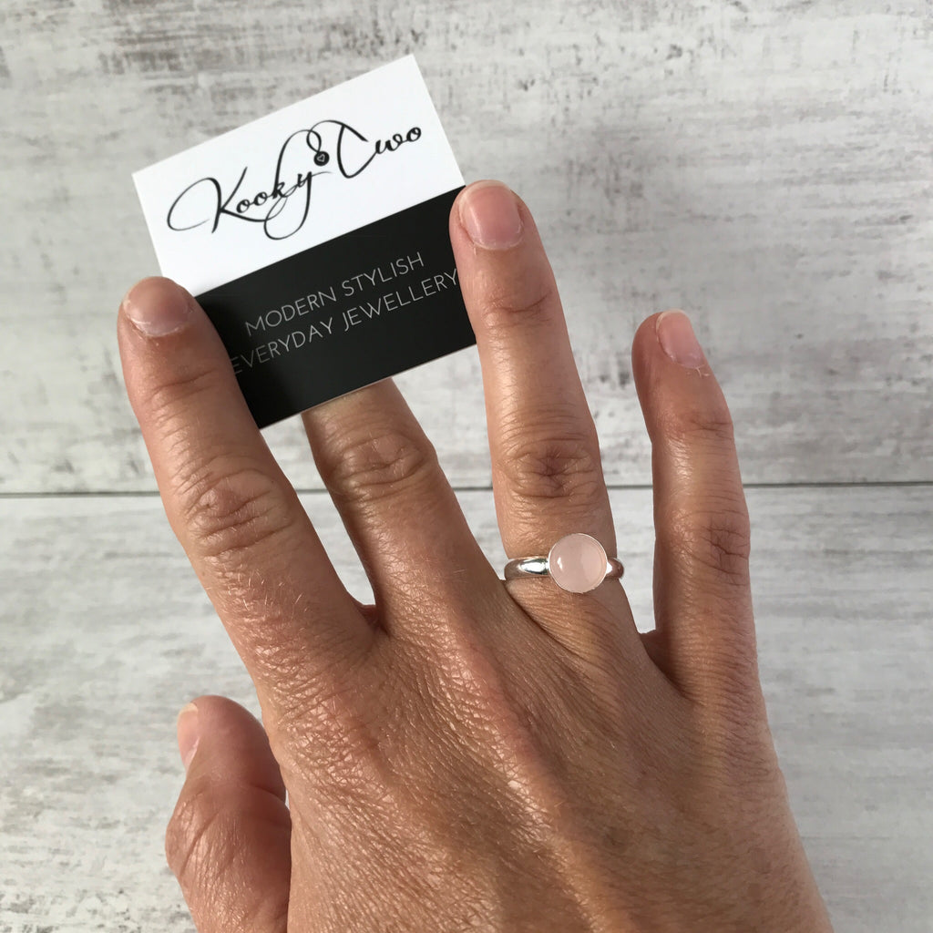 Rose Quartz Round Gemstone Ring - KookyTwo